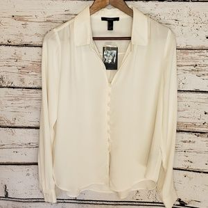 🛒 NWT Forever 21 Ivory Long Sleeve Blouse Large
